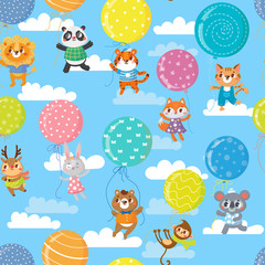 Seamless pattern with colorful balloons and cute animals. Vector illustration.