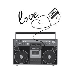 Retro audio player in a flat style. Vector illustration for a card or poster, print on clothes. Music.