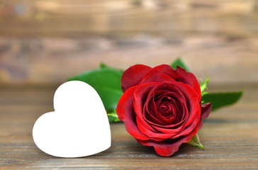 Valentine's Day card: Red rose and heart