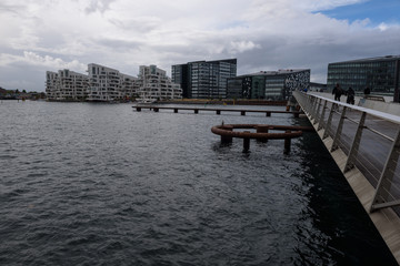 Modern architecture near the water in Copenhagen, Denmark