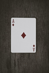 Playing cards ace of diamonds close up