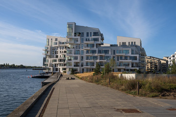 Lines & perspective of modern architecture in Copenhagen, Denmark