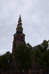 Impressive tower of the Church of Our Saviour, Copenhagen, Denmark