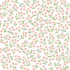 Floral tile pattern. Leaves and flowers. Nature Herb background. Summer garden ornament