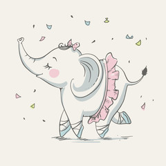 Cute elephant ballerina dancing cartoon hand drawn vector illustration. Can be used for baby t-shirt print, fashion print design, kids wear, baby shower celebration greeting and invitation card.
