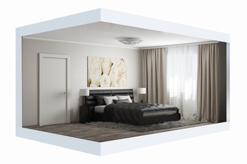 3D rendering of modern bedroom with white roses