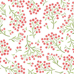 Floral  tile pattern. Leaves and flowers. Nature Herb background