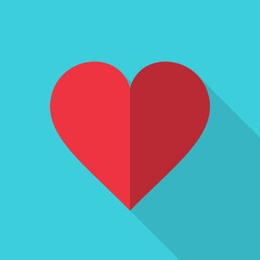 Heart Icon flat style with long shadow. Vector. Love red symbol. Valentine's Day sign, isolated on blue background, graphic logo.