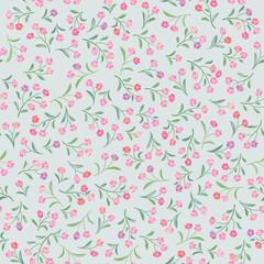 Floral gentle pattern. Flower seamless background. Flourish ornament. Spring garden texture