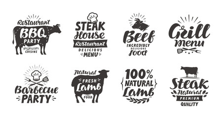 BBQ, barbecue, meat labels. Collection elements for menu design restaurant or cafe. Vector illustration