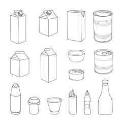 Food packaging template set. Different package outline doodle drawn icon collection