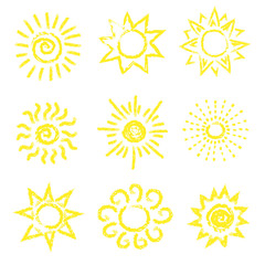 Set of vector sun icons. Doodle collection.