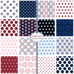 16 repeating polka dot patterns for digital paper, scrapbooking, backgrounds, borders, cards, invitations, gift wrap, stationery, decoration and paper crafts.