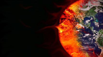 Greenhouse effect concept. Earth burned by coal combustion. Elements of the image: NASA.