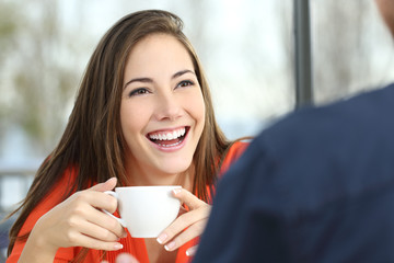 Happy woman dating with perfect smile