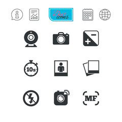 Photo, video icons. Camera, photos and frame.