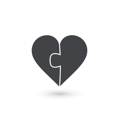 Heart puzzle vector icon made of two pieces. Vector valentine illustration.