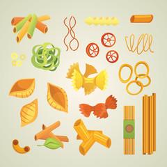 Vector set Italian pasta in cartoon style. Different types and shapes of macaroni with. Ravioli, spaghetti, tortiglioni illustration