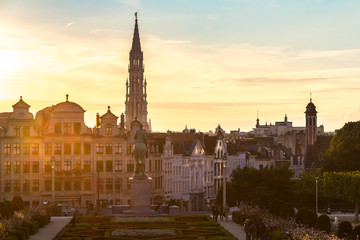 Foto op Canvas Brussel Cityscape of Brussels at night