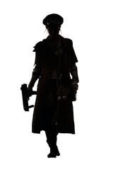 Nuclear post apocalypse life after doomsday concept. Grimy female survivor with homemade weapons. Studio portrait silhouette on white background
