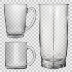 Two transparent glass cups and one transparent glass for juice on transparent background. Transparency only in vector file