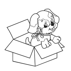 Coloring Page Outline Of cute puppy in box. Cartoon dog with bow. Gift for the holiday. Birthday. Coloring book for kids