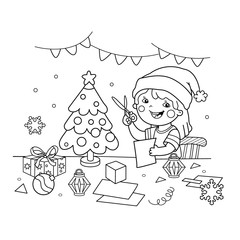 Coloring Page Outline Of cartoon girl making Christmas paper lanterns. Christmas. New year. Coloring book for kids