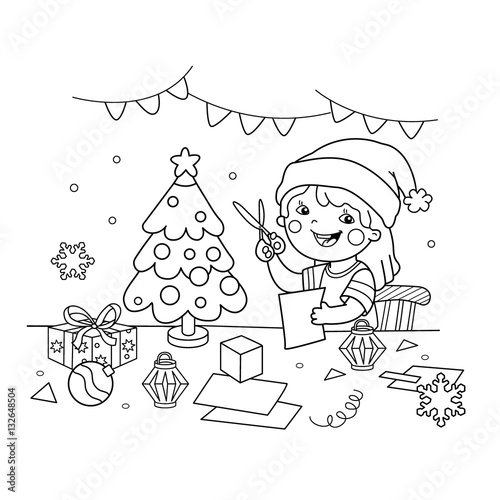 Coloring Page Outline Of cartoon girl making Christmas paper ...
