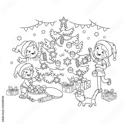 Coloring Page Outline Of Children Decorate The Christmas Tree With Ornaments And Gifts