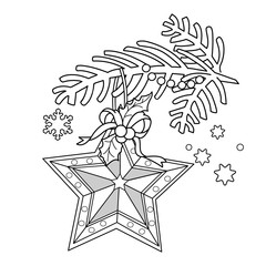 Coloring Page Outline Of Christmas decoration. Star. Christmas tree branch. New year. Coloring book for kids