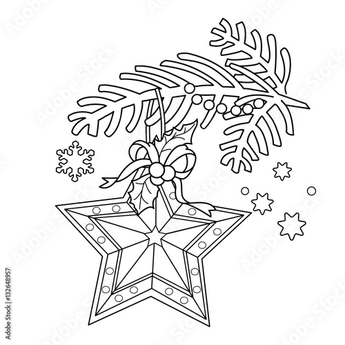 coloring page outline of christmas decoration star christmas tree