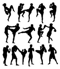 Muay Thai Or Kickboxing Silhouettes, art vector design