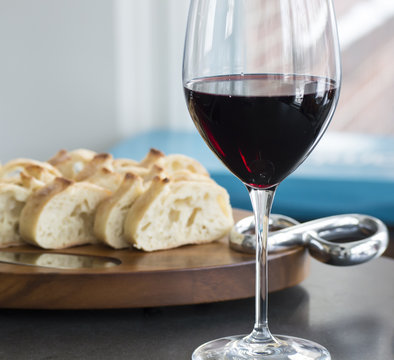 Glass of red wine relaxing bright image