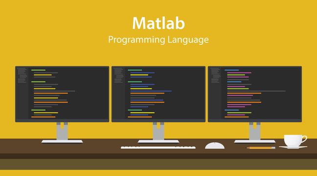 Illustration of Matlab programming language code displayed on three monitor in a row at programmer workspace