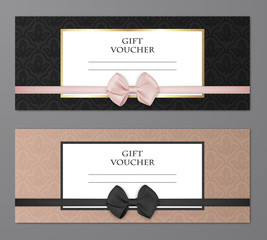 Vector modern gift voucher template set with floral pattern and beautiful bow. Gift coupon, card, invitation, certificate, ticket etc.