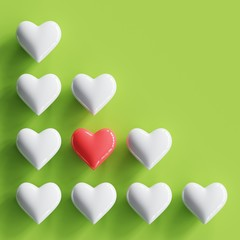 Outstanding Red heart with many white hearts on pastel green background. minimal concept.