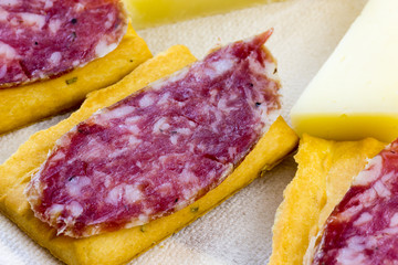 Appetizer with cheese and Italian salami