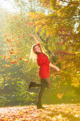 Cheering girl with leaves.