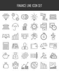 Modern thin line icons set of finance