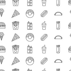 Vector seamless pattern of fast food
