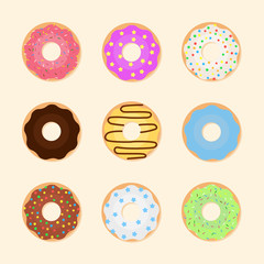 Set of colorful donuts.