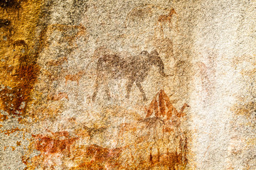 Elephant Rock Painting.  Ancient Bushman Rock Paintings. Domboshava Zimbabwe Africa
