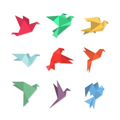 Origami paper birds in a flat style.
