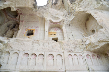 The Dark Church at Goreme Open Air Museum in Cappadocia, Turkey