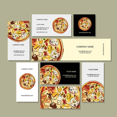 Business cards design with pizza sketch