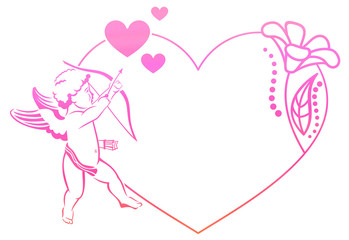 Cupid with bow hunting for hearts. Heart-shaped color gradient frame with Cupid, roses and hearts. Copy space. Raster clip art.
