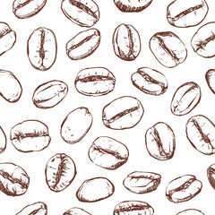 Coffee bean pattern including seamless on white background, Vector clip art