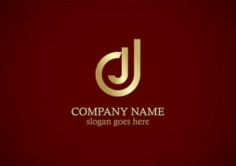 letter j line gold logo