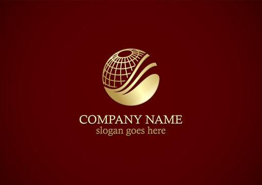 globe sphere technology gold logo