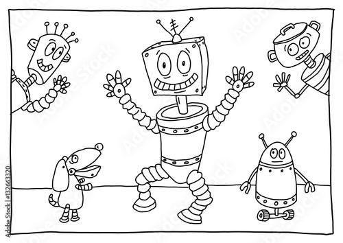 Ausmalbild Roboter Stockfotos Und Lizenzfreie Bilder Auf Fotolia